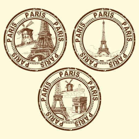 stickers: grunge rubber stamp with Paris - vector illustration