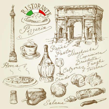 salami: pizza, dibujado a mano la colección