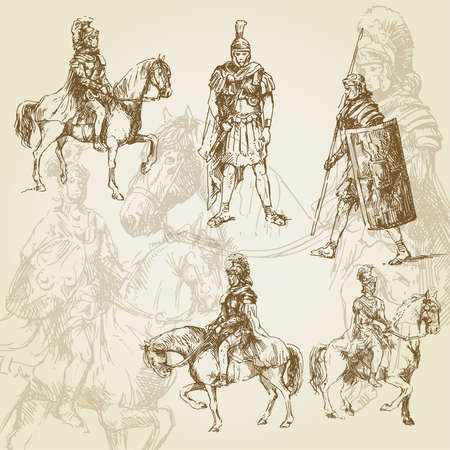 ancient rome: legionary - hand drawn collection  Illustration