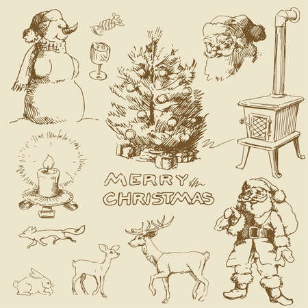 vintage christmas card Stock Vector - 13571739
