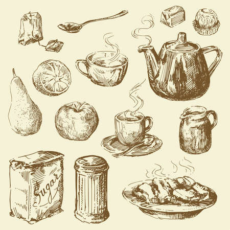 tea and coffee collection  Vector
