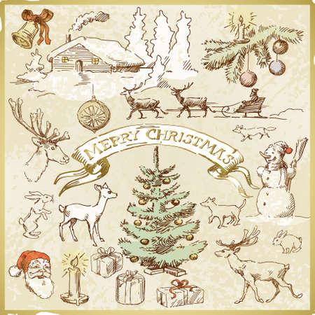 weihnachten vintage: Weinlese-Weihnachtskarte Illustration