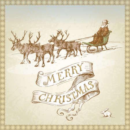 renos de navidad: Vintage tarjeta de Navidad Vectores