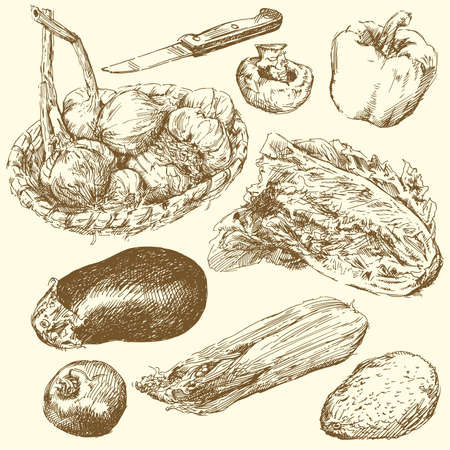 greengrocery-hand drawn set  Vector
