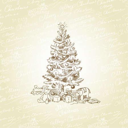 tree toys: christmas background  Illustration