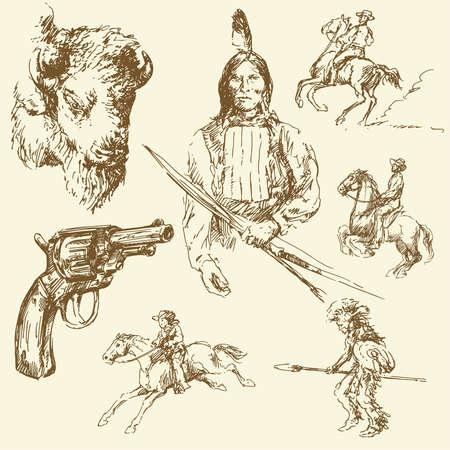 west indian: wild west set  Illustration