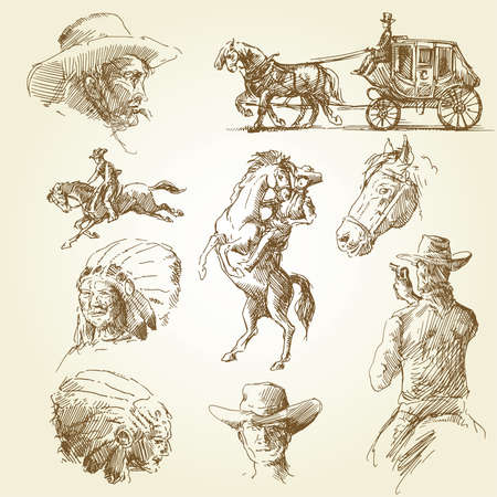 old cowboy: wild west set  Illustration