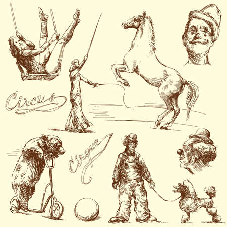 cartoon circus: circus - hand drawn set