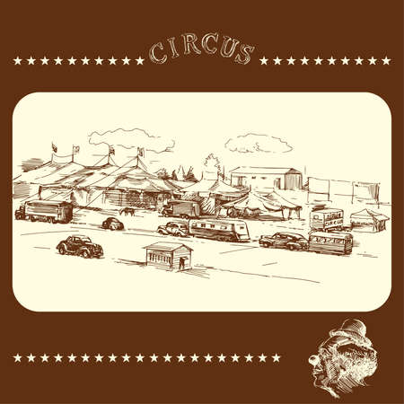 circus - vintage hand drawn vector illustration  Vector