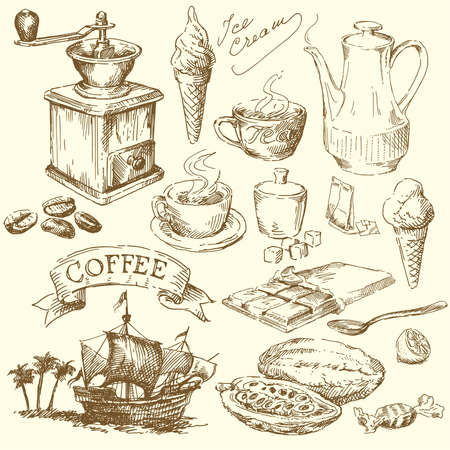 coffee mill: coffee and chocolate doodles  Illustration