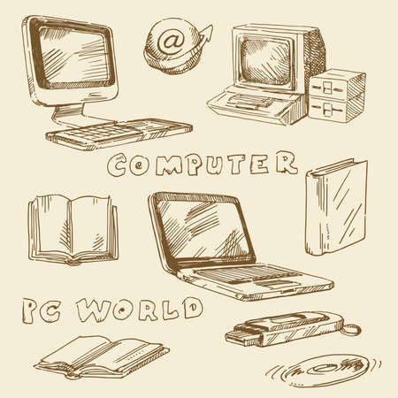 notebook computer: hand drawn set - computers