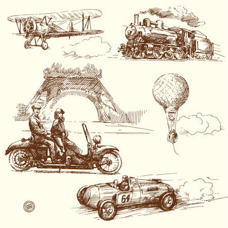vintage vehicles collection  Vector