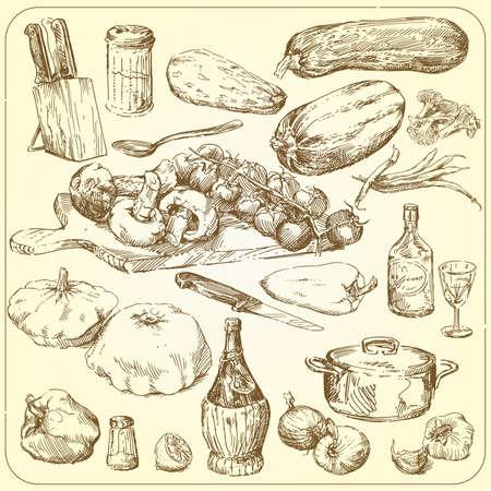 restaurante italiano: la recolecci�n de alimentos - dibujado a mano conjunto