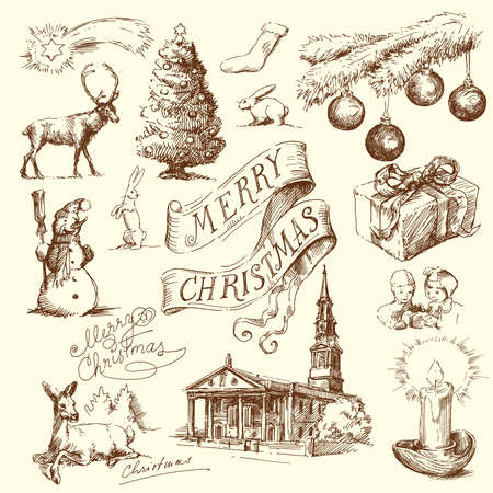 people in church: hand drawn christmas set