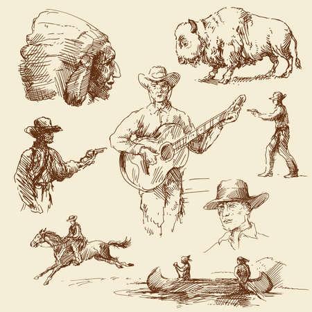 oeste: Wild West - colección de dibujado a mano