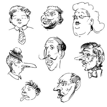old pencil: comic doodles, caricature