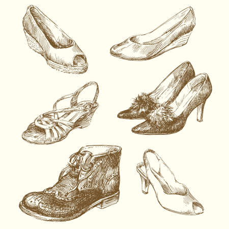 leather shoe: hand drawn shoes Illustration