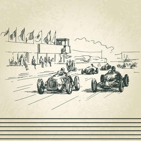 ностальгический: старинных гоночных автомобилей Иллюстрация