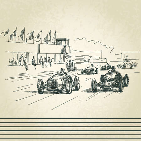 car tracks: vintage racing cars