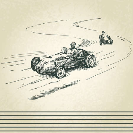 car driver: vintage racing cars