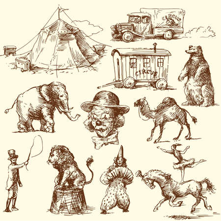 circus animals: circo - dibujado a mano conjunto