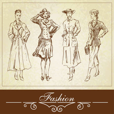 20th century: vintage fashion-hand drawn set  Illustration