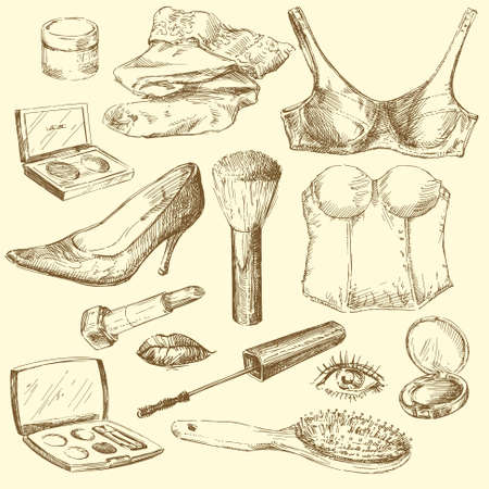 cosmetics collection: women s accessories Illustration