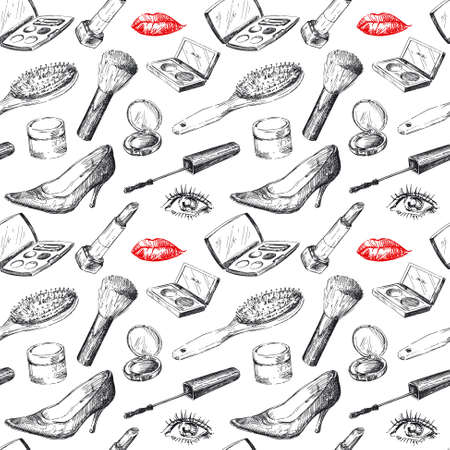 sketchy: seamless pattern - women s accessories