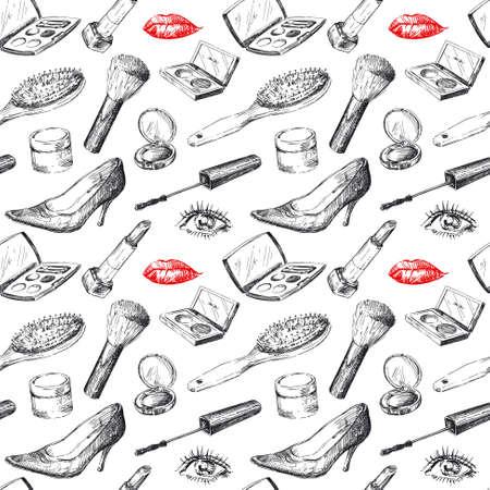 eyeliner: seamless pattern - women s accessories