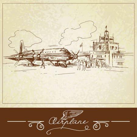 airplane-hand drawn illustration Vector
