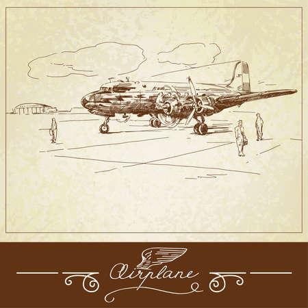 aerospace: airplane-hand drawn illustration