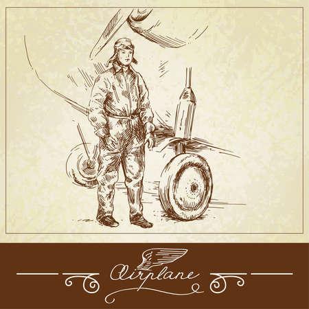 airline pilot-hand drawn illustration