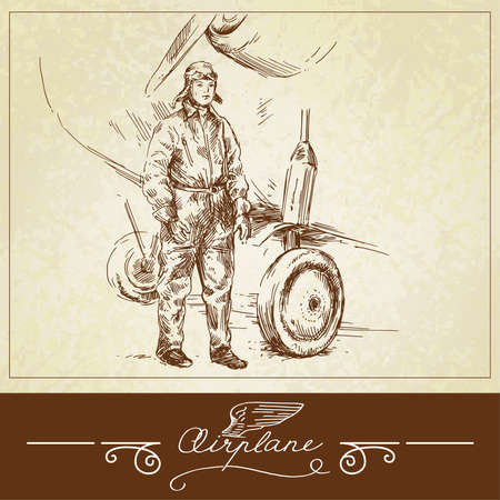 pilotos aviadores: Piloto de L�nea A�rea-dibujado a mano ilustraci�n