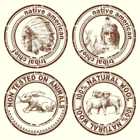 old west: stamps-indian chief  Illustration
