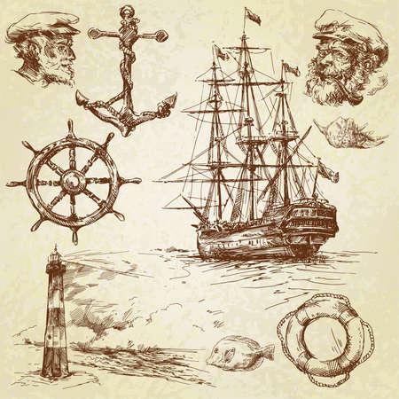 at anchor: colecci�n de elementos n�uticos, dibujado a mano Vectores