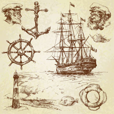 anchor: nautical elements-hand drawn collection  Illustration
