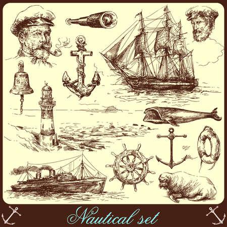 marinero: colecci�n de elementos n�uticos, dibujado a mano Vectores