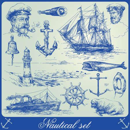 la collecte des éléments marins-dessinés à la main