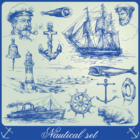 marine ship: nautical elements-hand drawn collection  Illustration