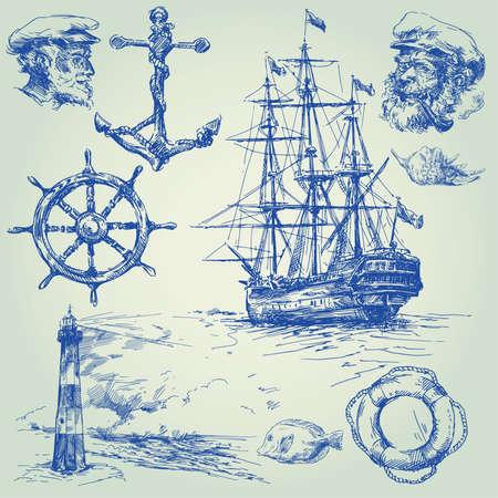 navy ship: colecci�n de elementos n�uticos, dibujado a mano Vectores