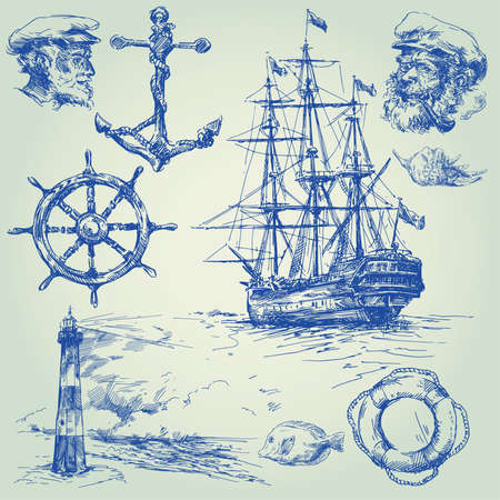tall ship: nautical elements-hand drawn collection  Illustration