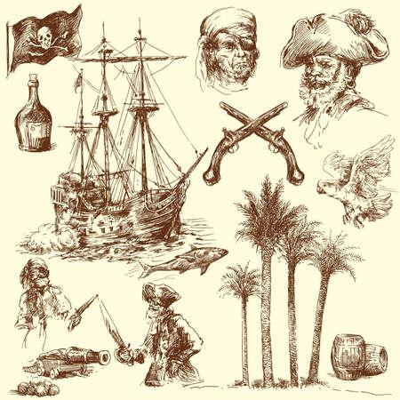 barco pirata: colección de piratas-dibujado a mano Vectores
