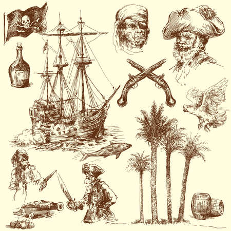 captain ship: pirates-hand drawn collection