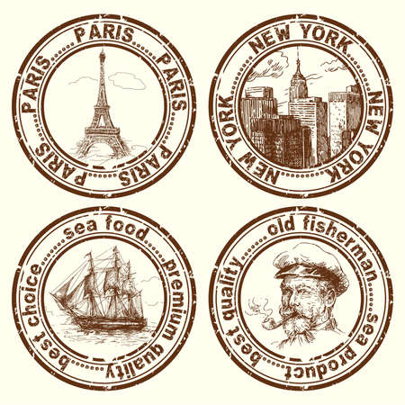 stickers: travel stamps  Illustration