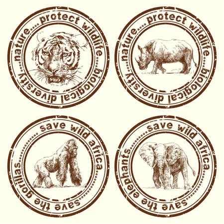 sauvages timbres afrique Vecteurs