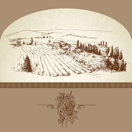 de hand getekende wijngaard Vector Illustratie