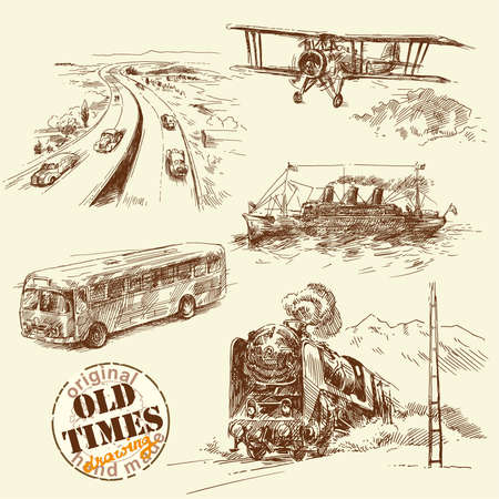railway engine: old times-original hand drawn set