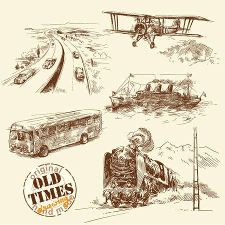 locomotora: viejos tiempos-original dibujado a mano conjunto