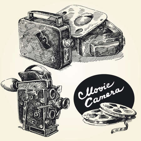 vintage movie cameras-original hand drawn collection  Vector