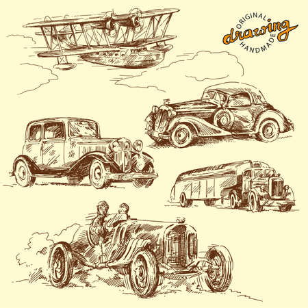 antique car: old time-hand drawn collection  Illustration